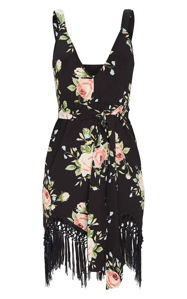 Black Floral Tassel Hem Midi Dress 1