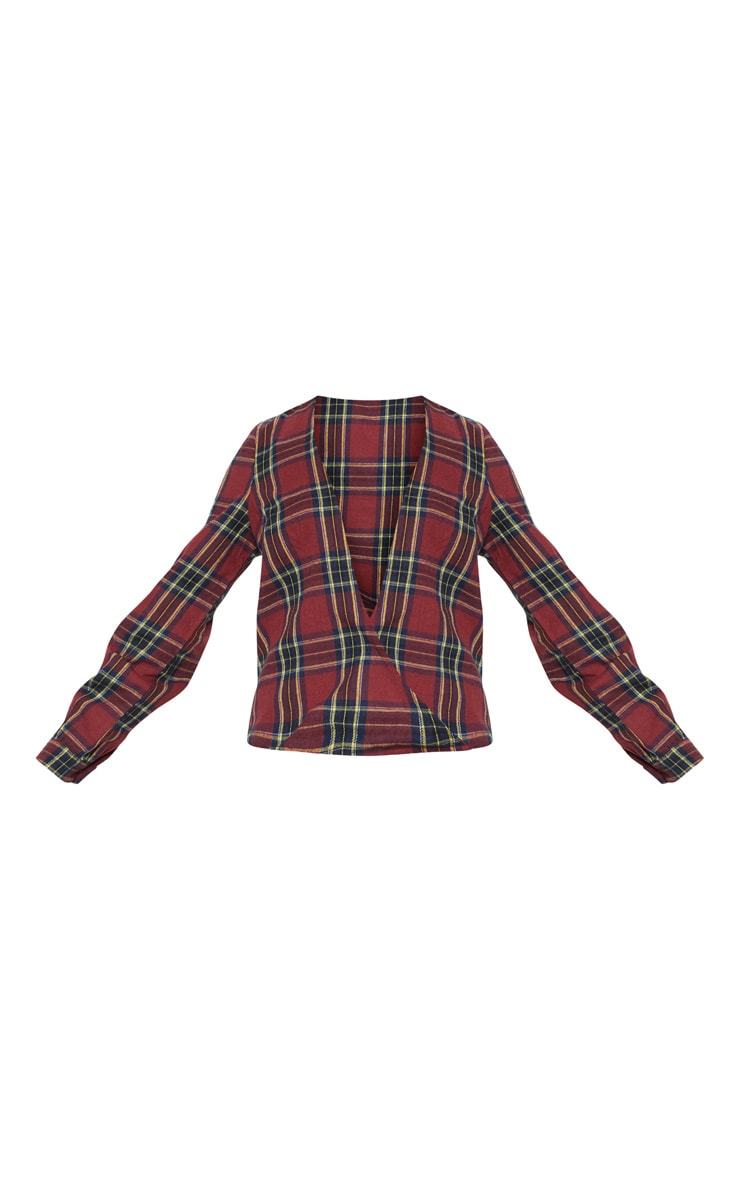 Brown Check Plunge Long Sleeve Top 3