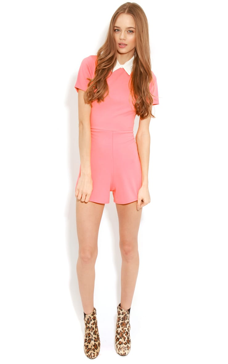 Dylon Coral Playsuit With White Collar 4