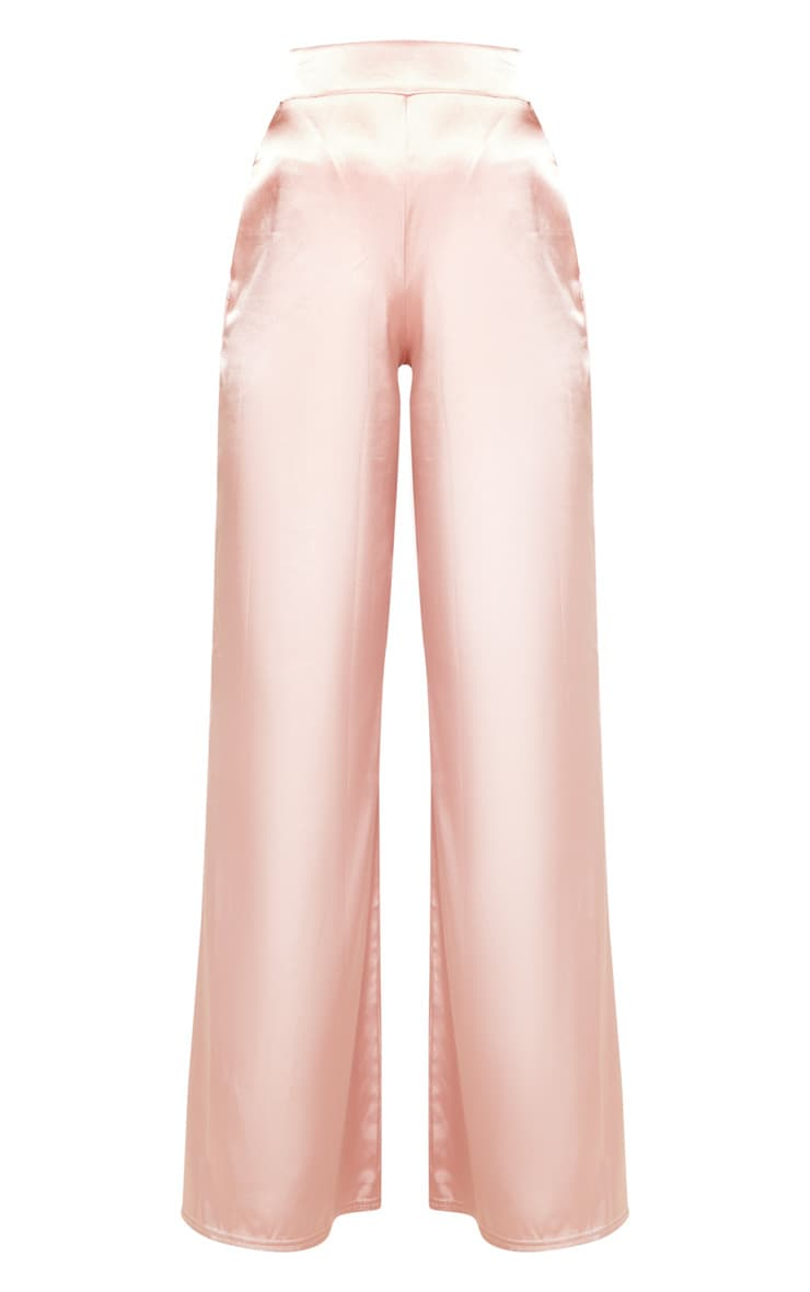 Blush Satin Wide Leg Pants 4