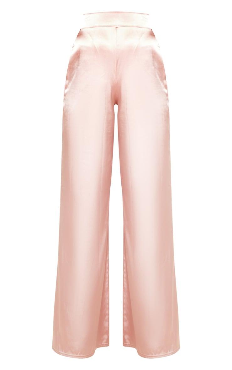 Blush Satin Wide Leg Trouser 5