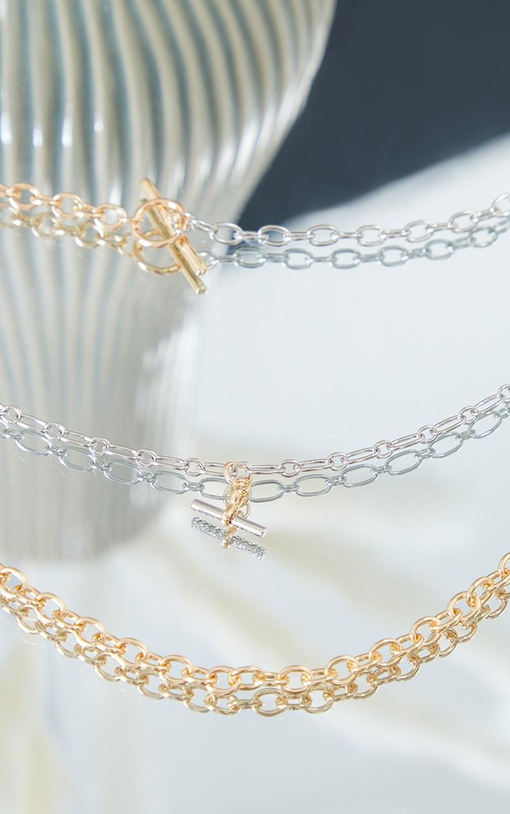 Collier de chaînes multiples dorées & argentées à barres en T 4
