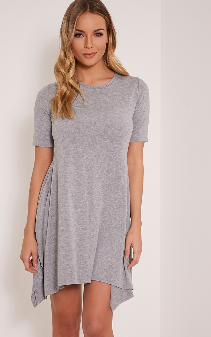 Trudi Grey Raw Edge Asymmetric  Hem Dress 1