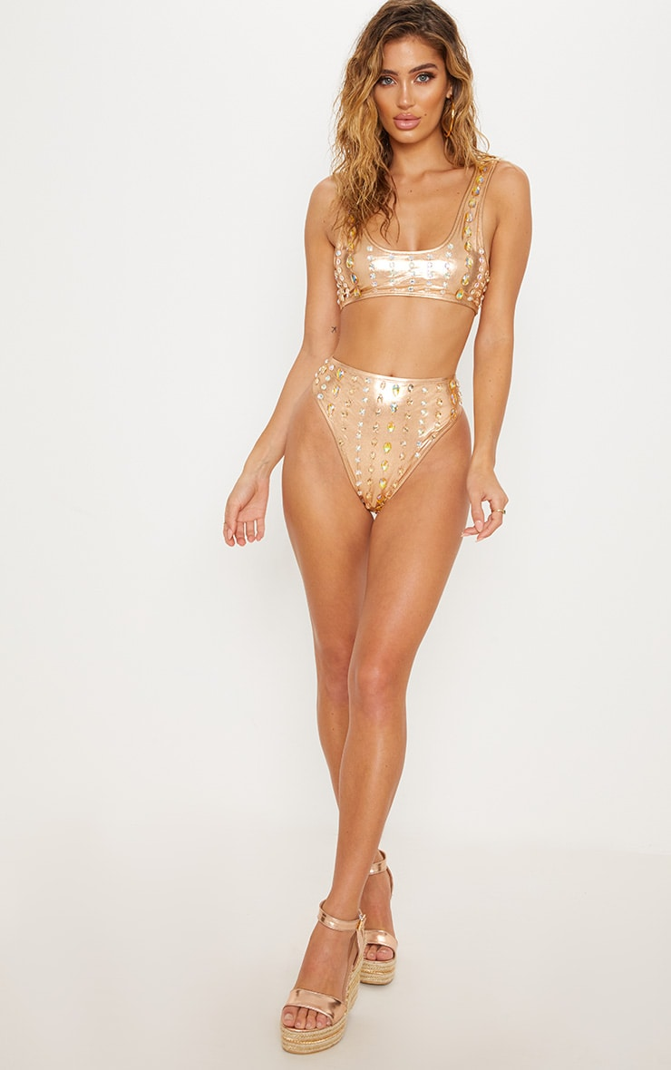 Premium Rose Gold High Waisted Beaded Pool Party Bottom 6