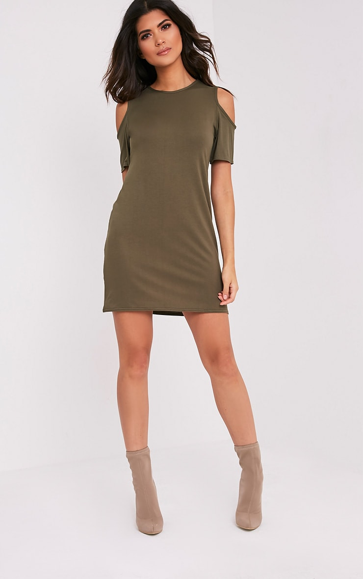 Neeka Khaki Cold Shoulder T-Shirt Dress 5
