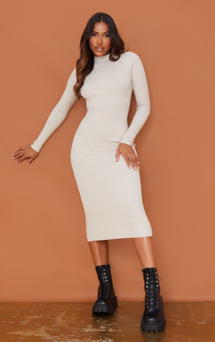 Stone Turtle Neck Knitted Bodycon Maxi Dress 3