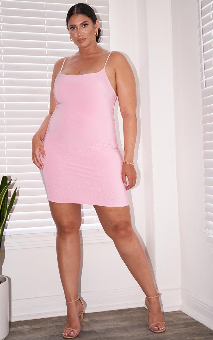 Plus Dusty Pink Slinky Strappy Bodycon Dress 1