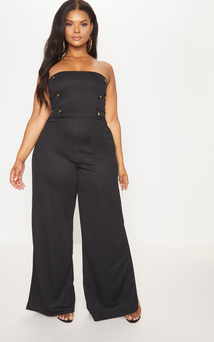 Plus Black Button Detail Bandeau Wide Leg Jumpsuit 1