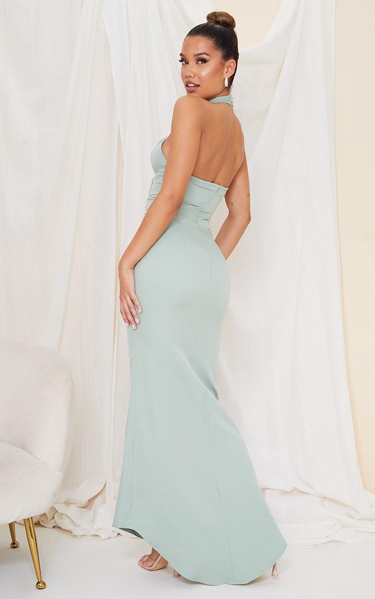 Sage Green Bridesmaid Corset Detail Cross Front Maxi Dress 2