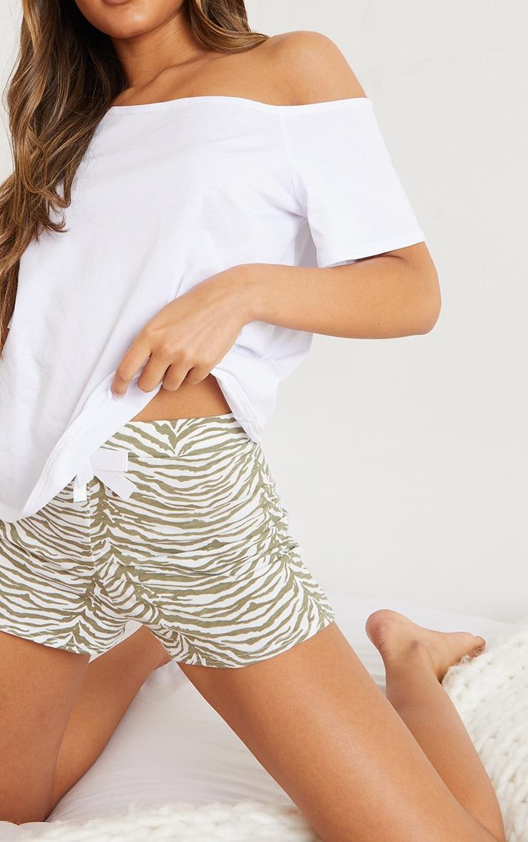 Sage Zebra Print Off The Shoulder Top & Shorts PJ Set 4