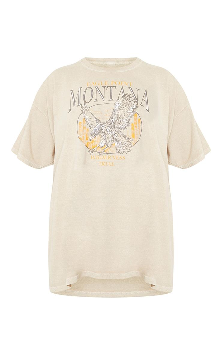 Sand Montana Logo Oversized Washed T Shirt 5