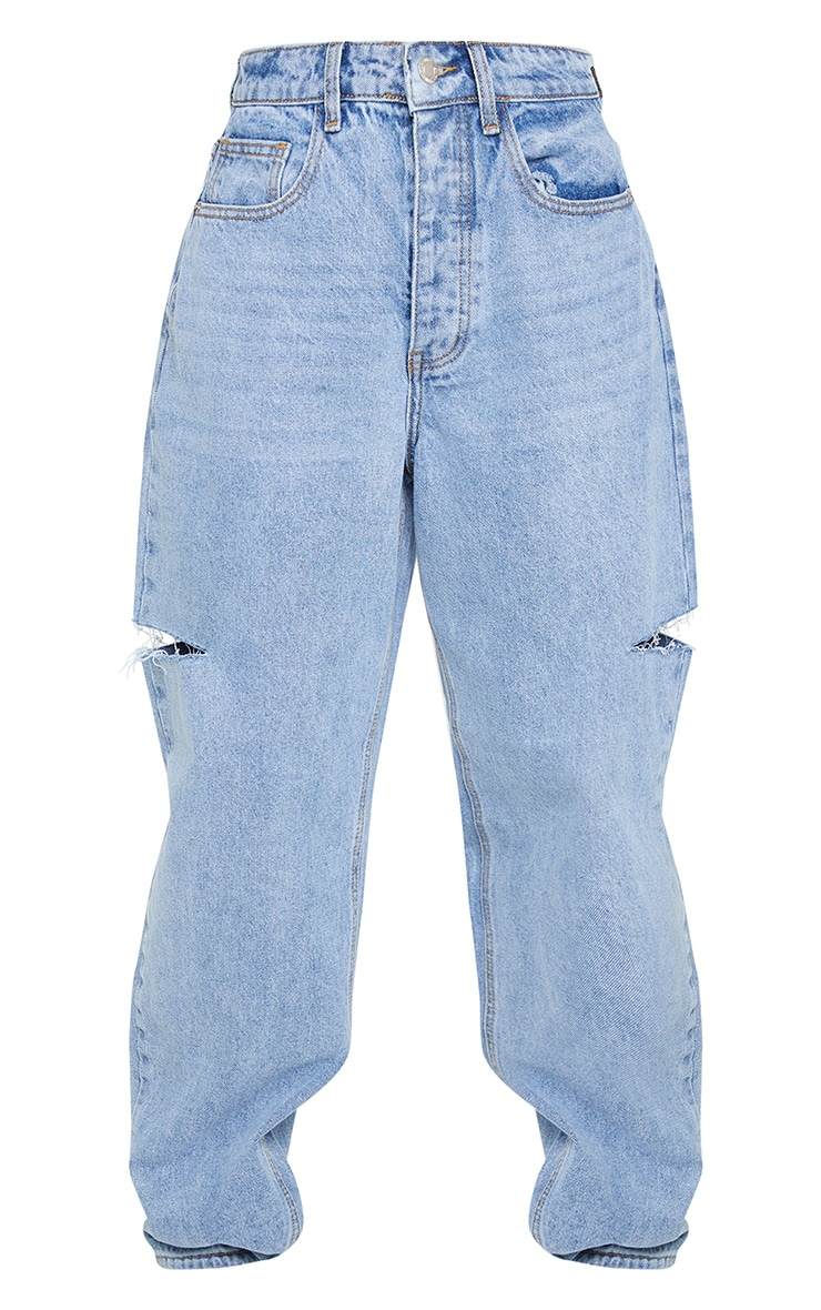 Light Blue Wash Thigh Split Baggy Boyfriend Jeans 5