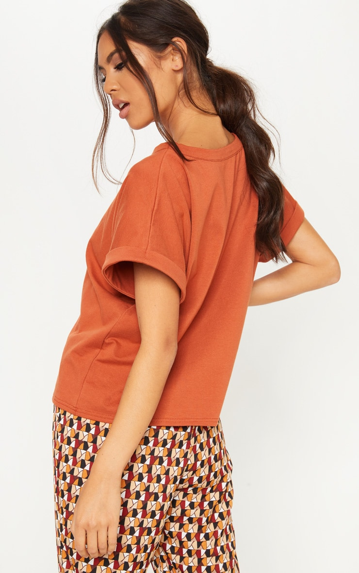Burnt Orange Low Arm T Shirt 2