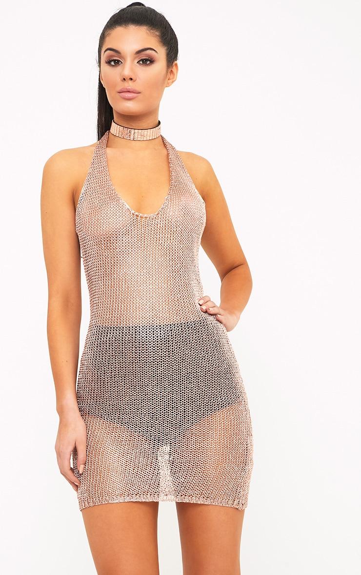Leila Rose Gold Metallic Halterneck Mini Dress 1