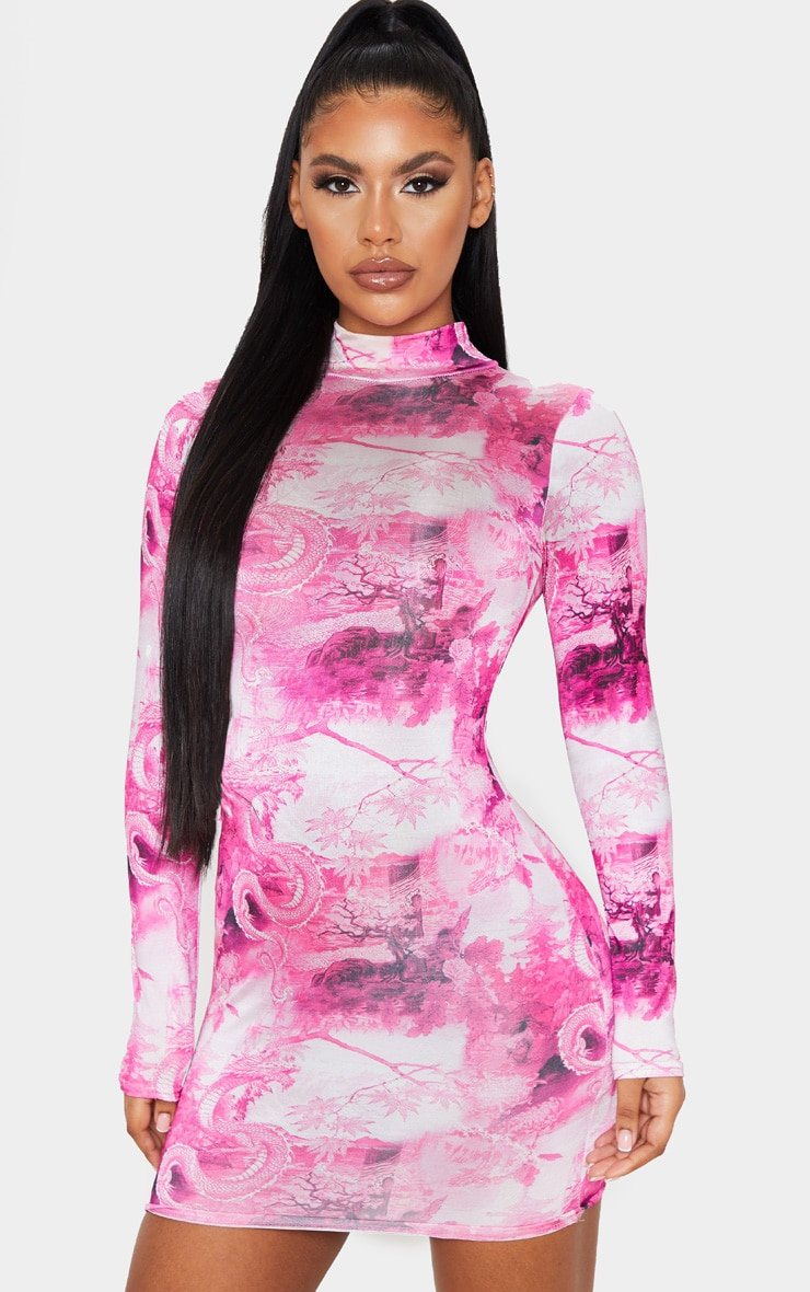 Hot Pink Oriental Print Slinky High Neck Long Sleeve Bodycon Dress