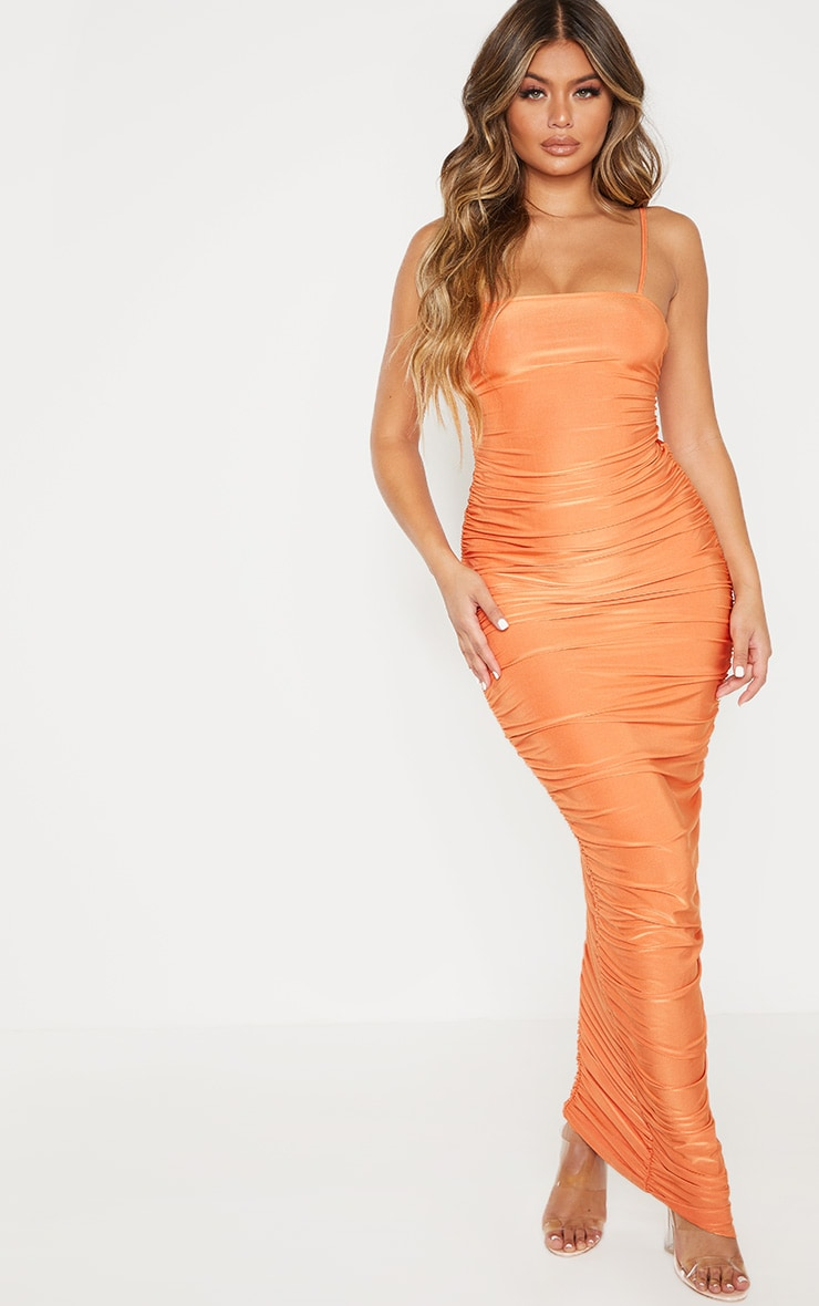 Orange Strappy Slinky Ruched Back Maxi Dress 2