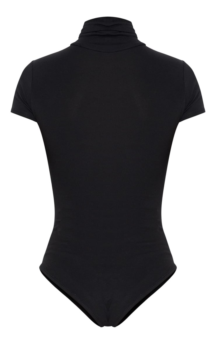 Petite Black Short Sleeve Basic Roll Neck Bodysuit 4