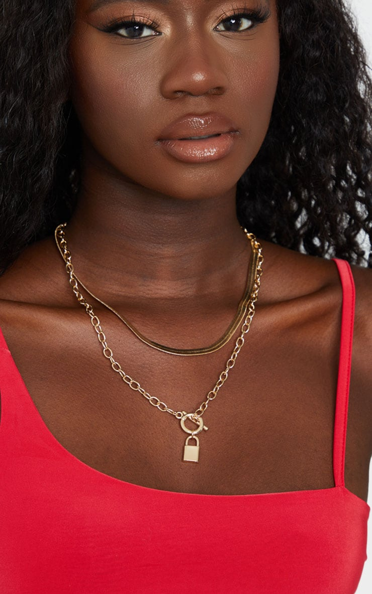 Gold Snake Chain And Padlock Layering Necklace 1