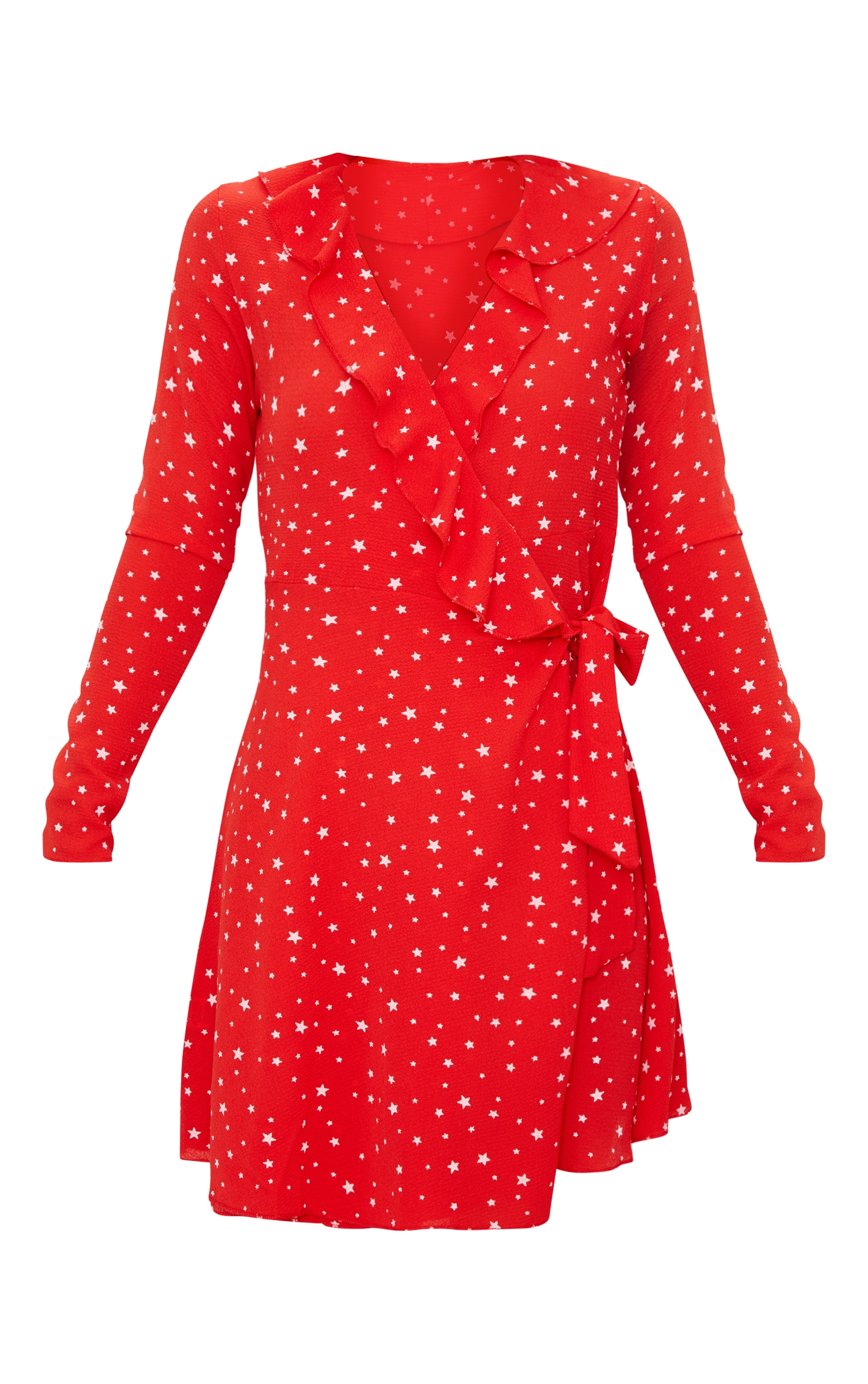 Red Star Print Frill Wrap Tea Dress  3