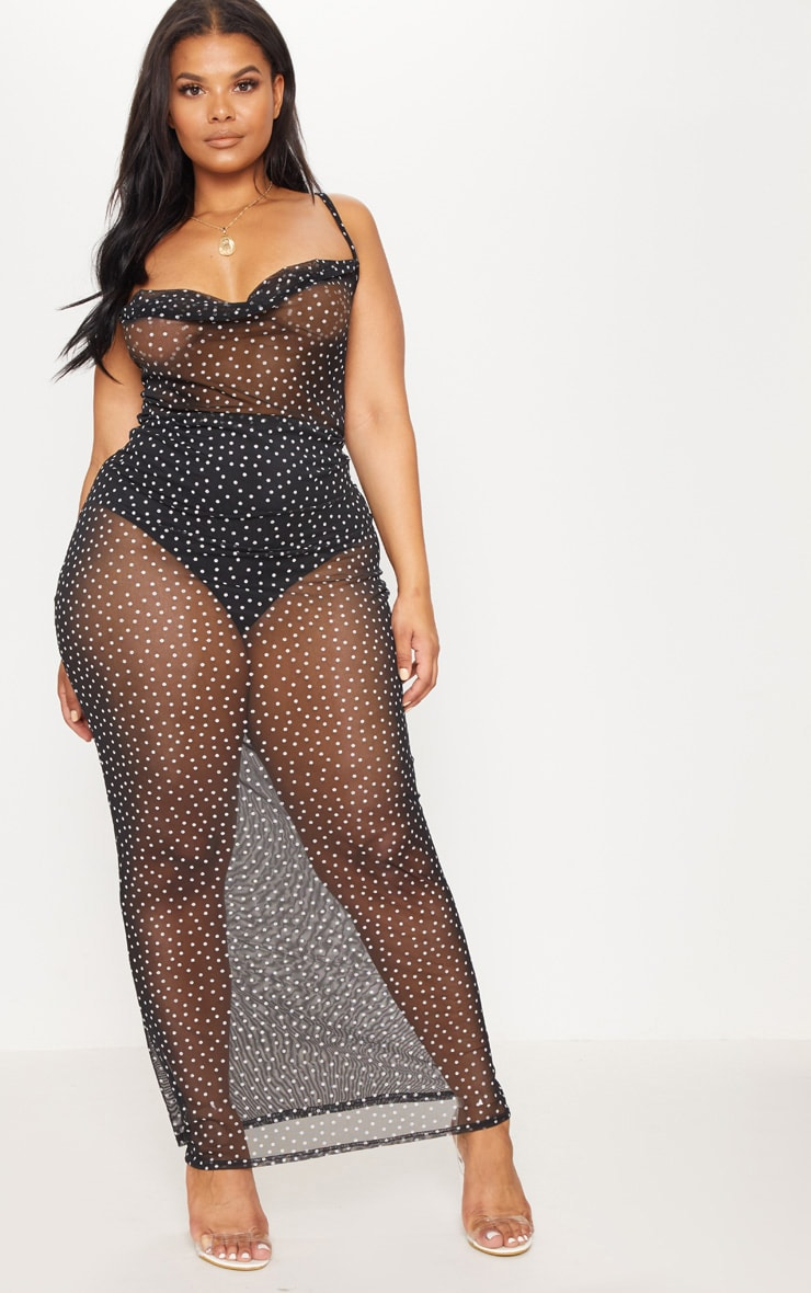 Plus Black Mesh Polka Dot Midaxi Dress 1
