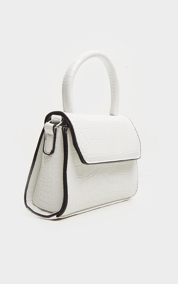 White Croc PU Cross Body Bag 3