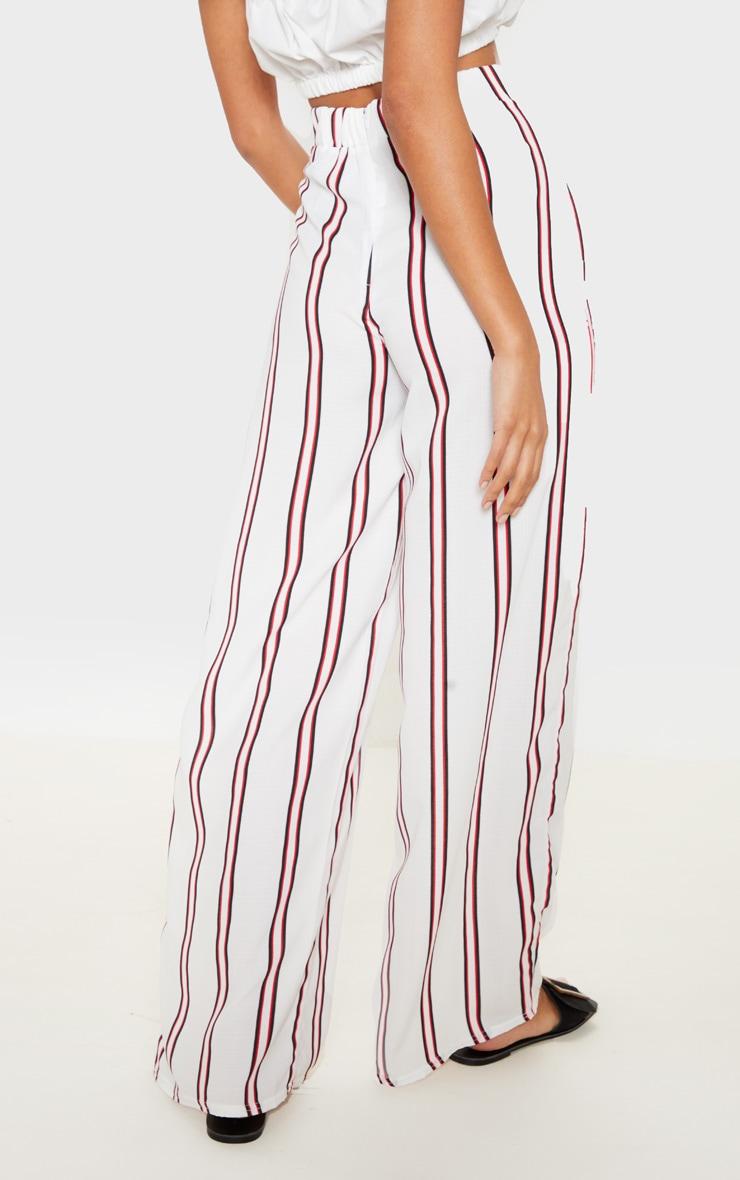 Pantalon tissé blanc à rayures et lien à nouer 4
