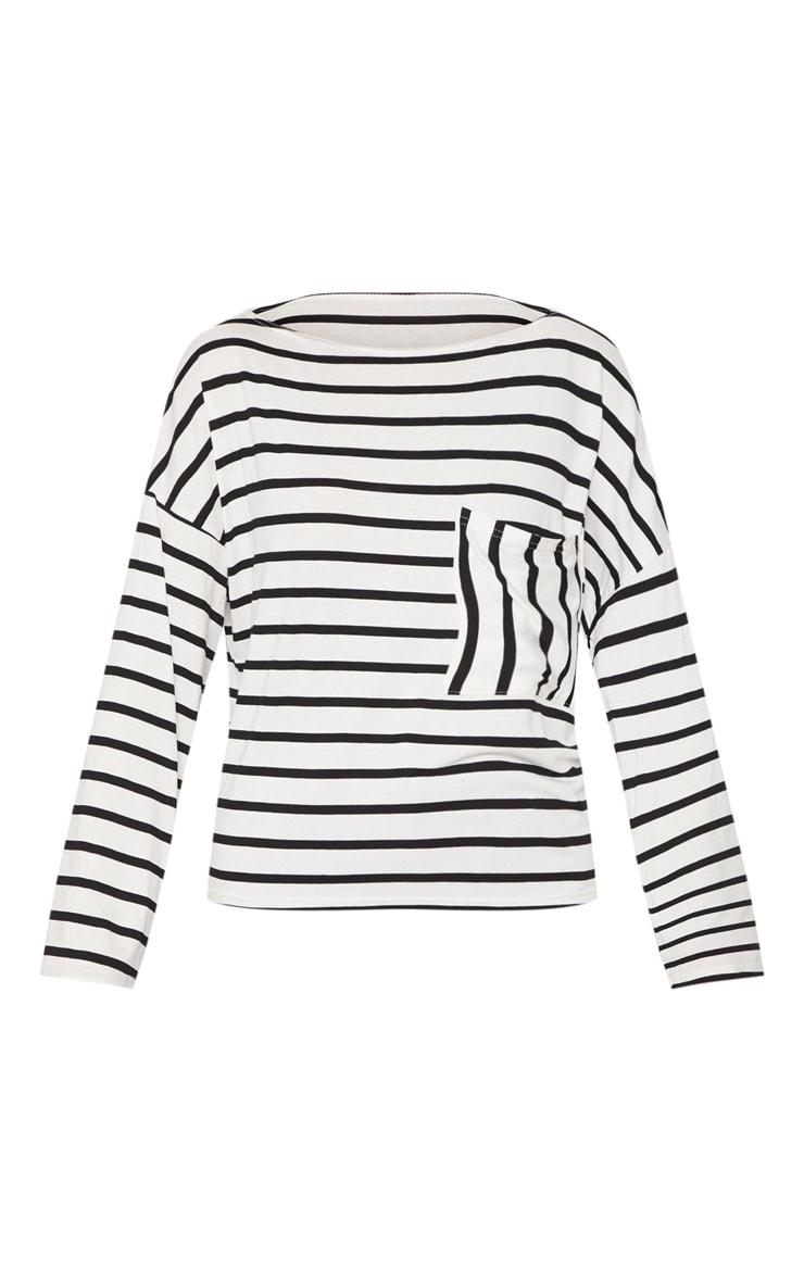 Monochrome Stripe Pocket Detail Long Sleeve Top 3