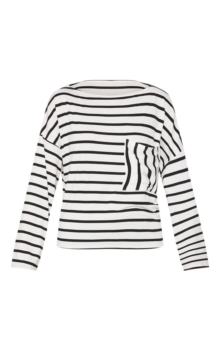 Monochrome Stripe Pocket Detail Long Sleeve Top 3