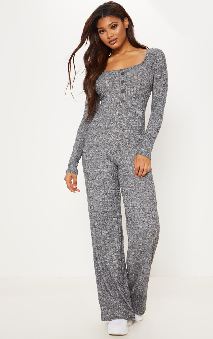 Tall Charcoal Ribbed Tortoise Button Jumpsuit 4