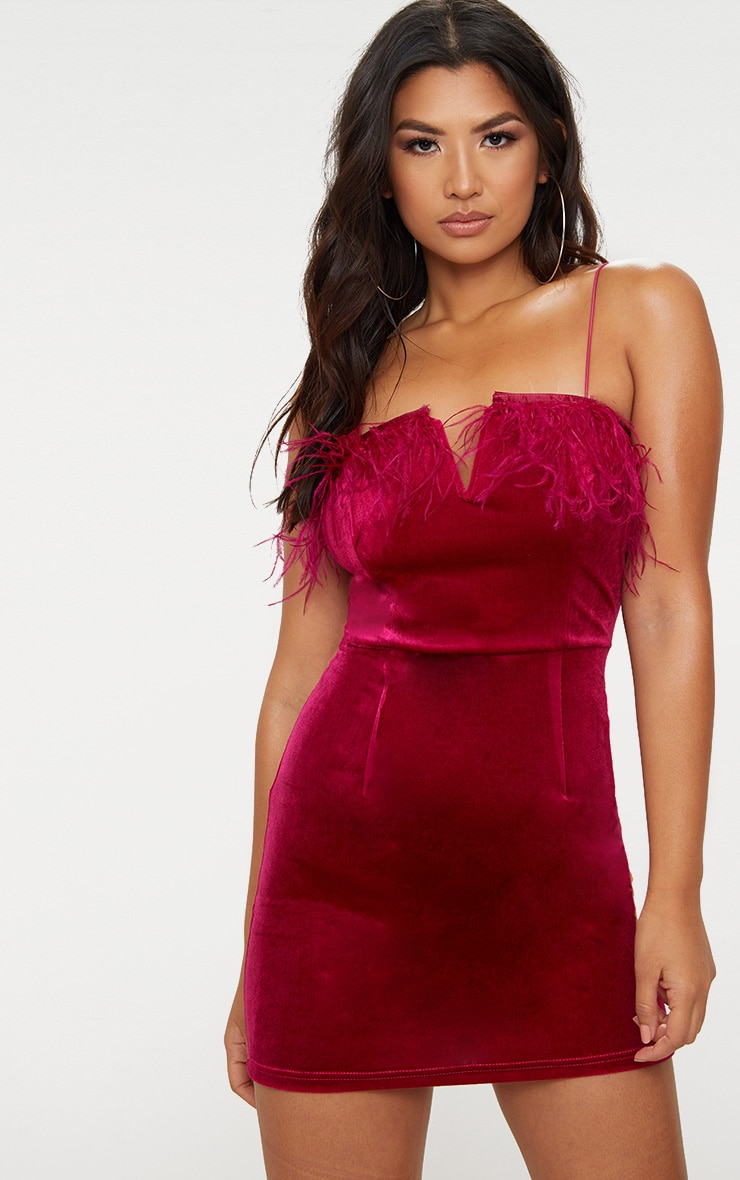 Fuchsia Velvet V Plunge Feather Trim Bodycon Dress 1