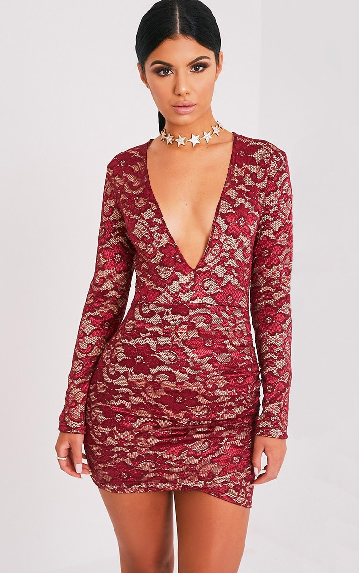Petite Inah Burgundy Lace Long Sleeve Bodycon Dress