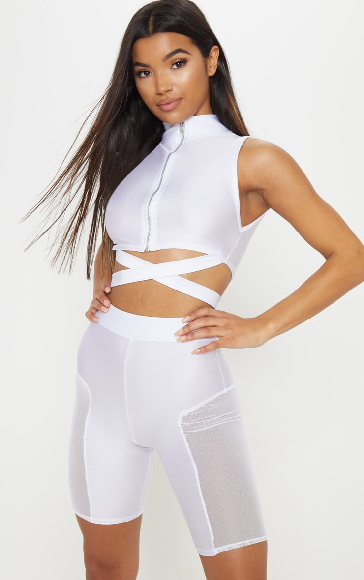 White Mesh Side Panel Cycling Shorts 1