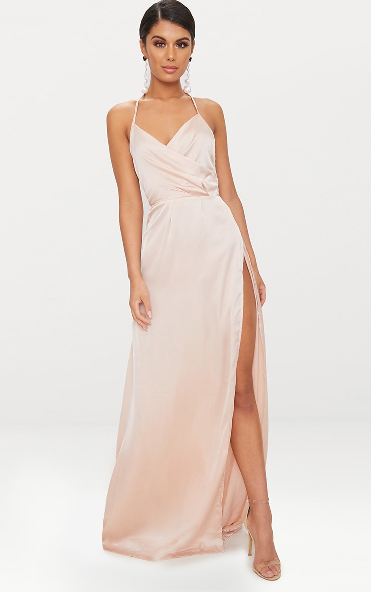 Lucie Champagne Silky Plunge Extreme Split Maxi Dress 2