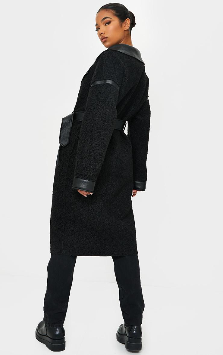 Black PU Borg Reversible Trench Coat 2