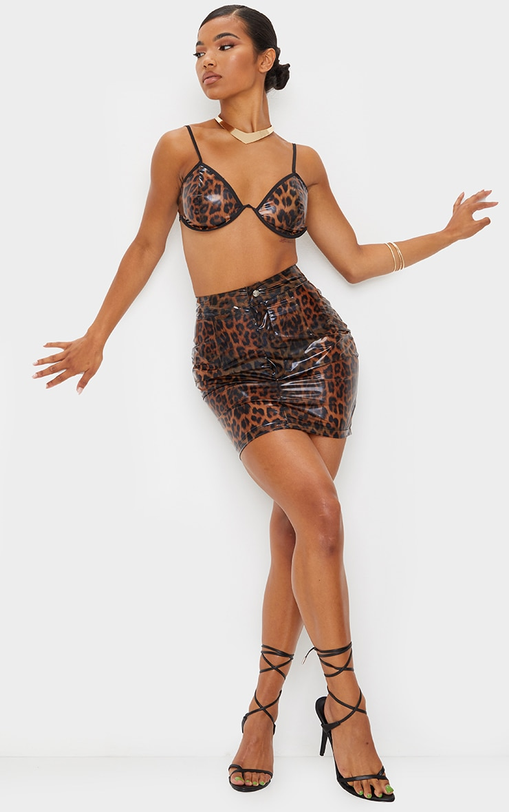 Brown Leopard Print Vinyl High Waist Pocket Detail Mini Skirt