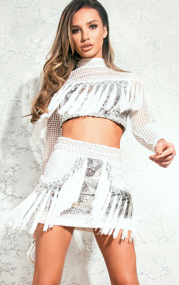 Marshella White Premium Sequin Tassel Mini Skirt 1