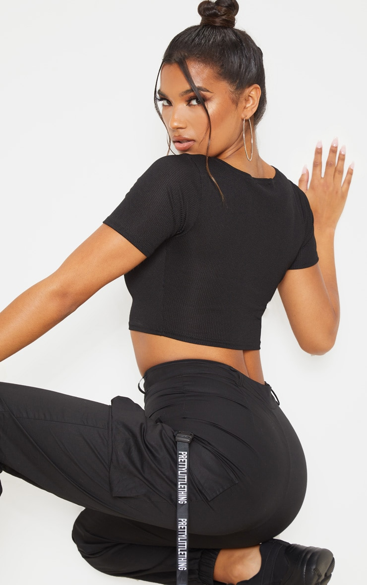 Black Cut Out Detail Ribbed Crop Top 2