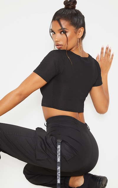 Black Cut Out Detail Ribbed Crop Top