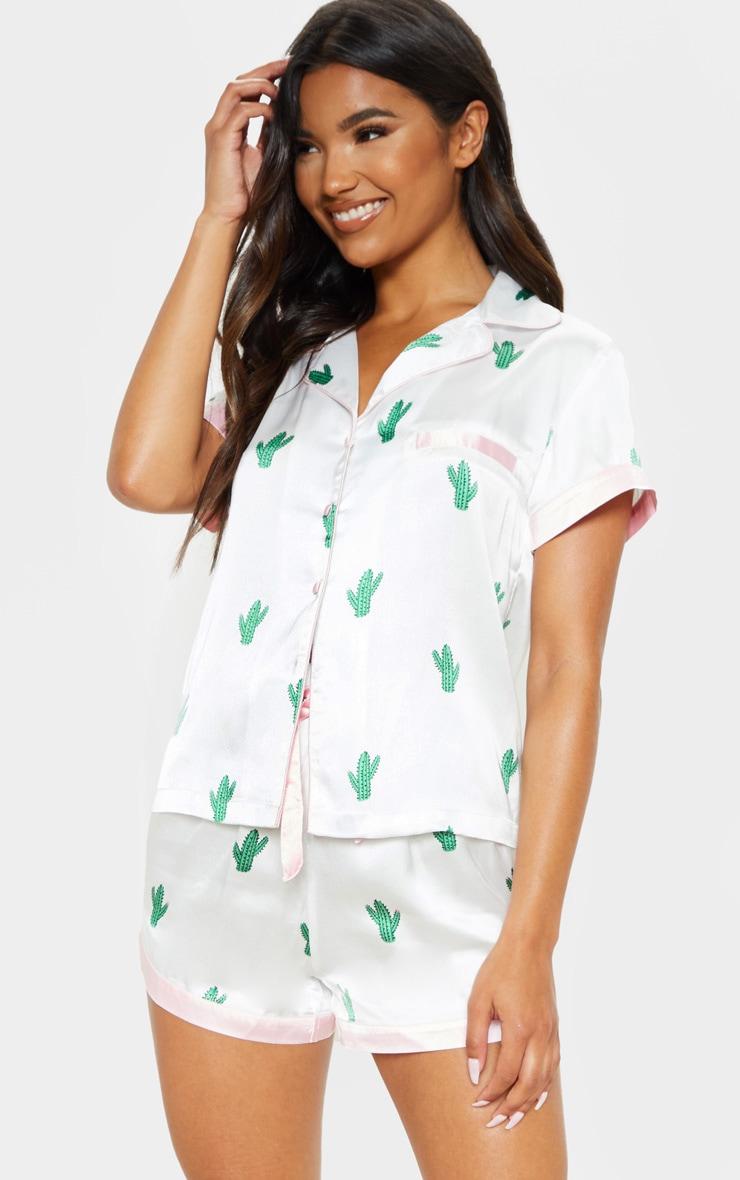 Ensemble de pyjama satiné blanc à imprimé cactus 1