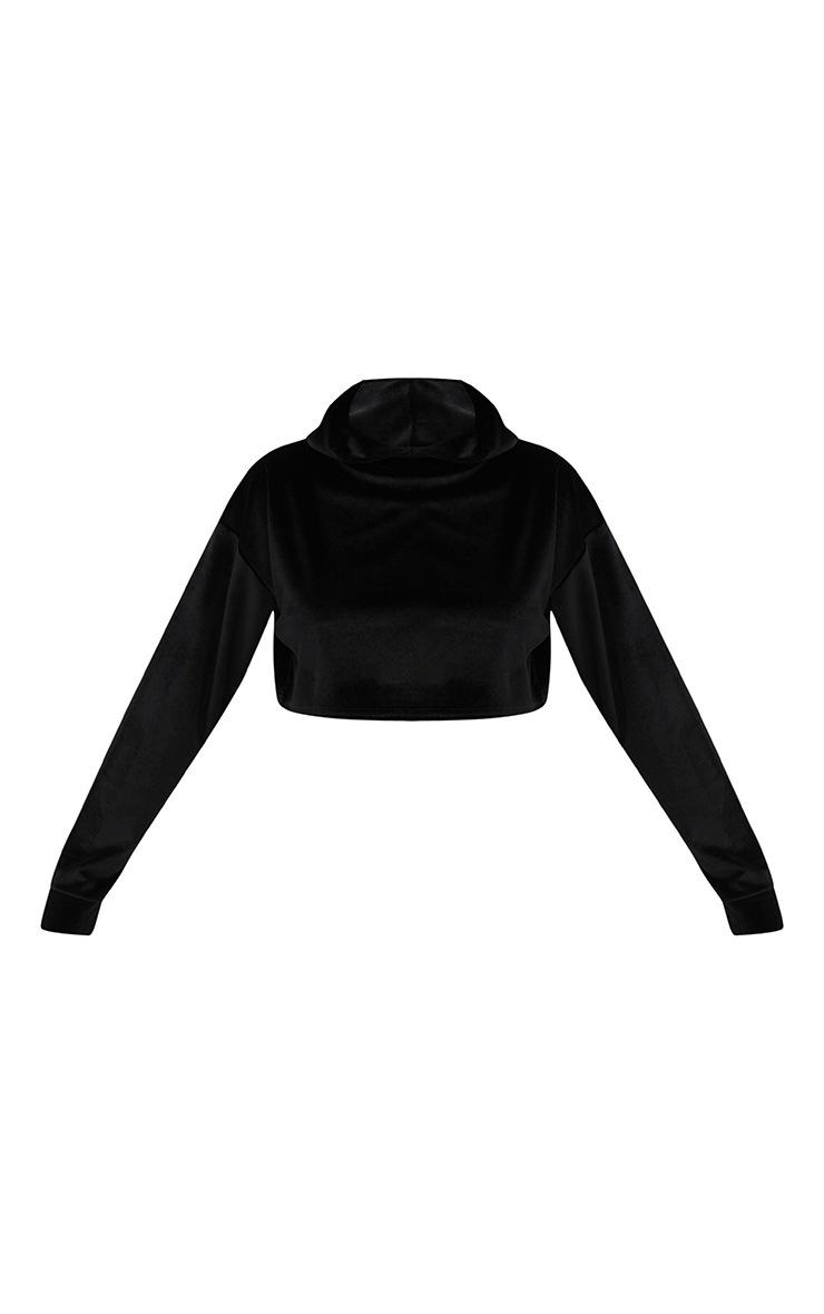 Petite Black Velour Cropped Hoodie 3