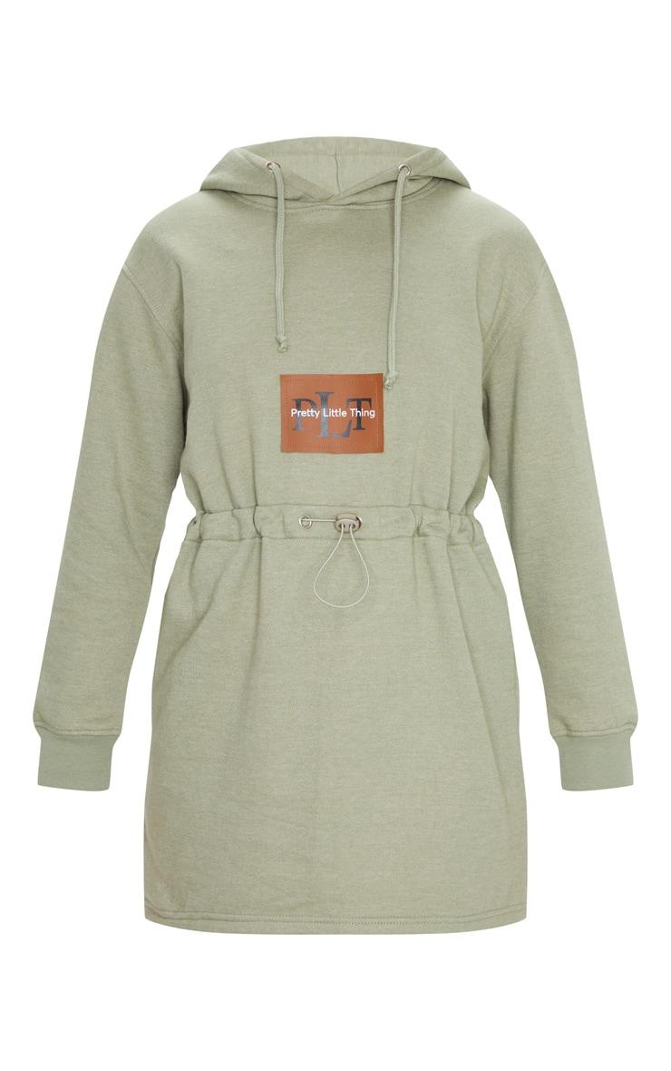 PRETTYLITTLETHING - Robe hoodie vert sauge à cordons 5