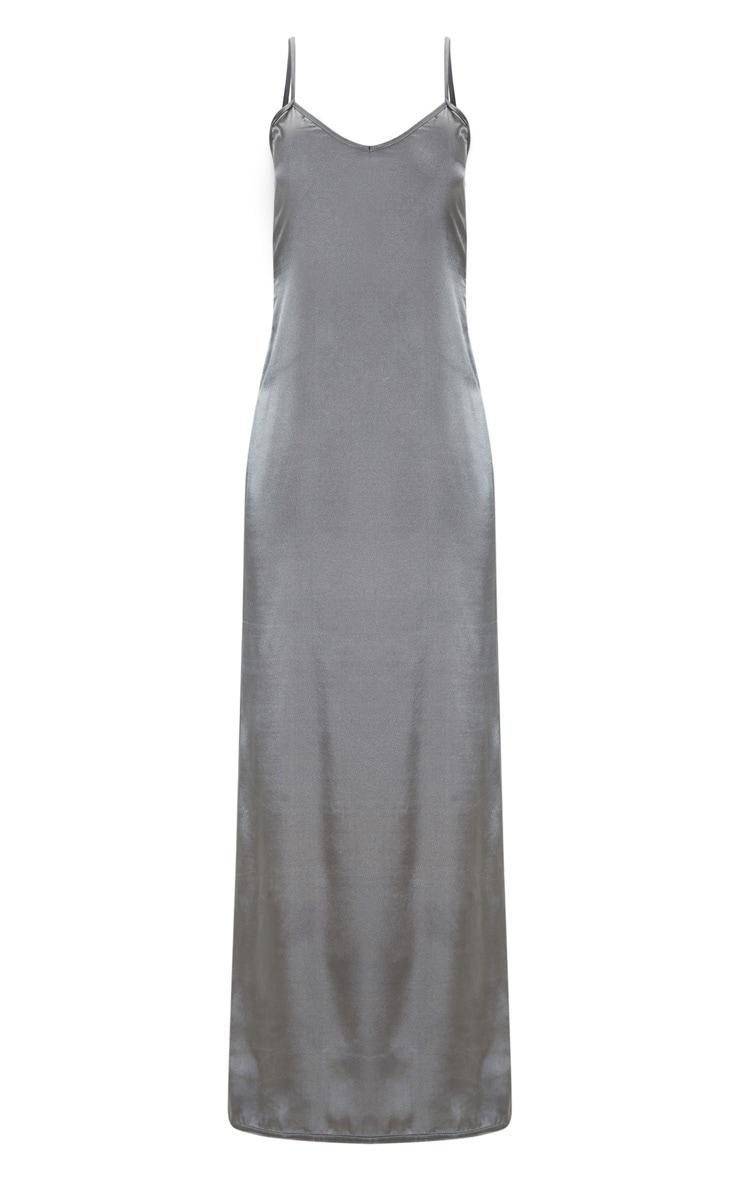 Robe longue satinée gris anthracite fendue devant 3