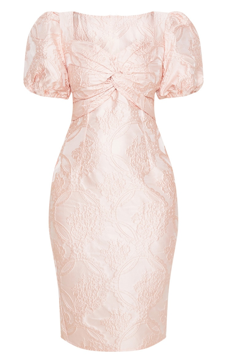 Dusty Pink Puff Sleeve Twist Front Jacquard Midi Dress 5