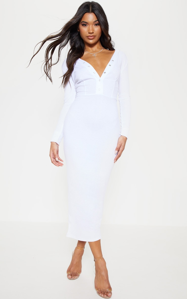 White Rib Popper Front Plunge Bodycon Dress 4