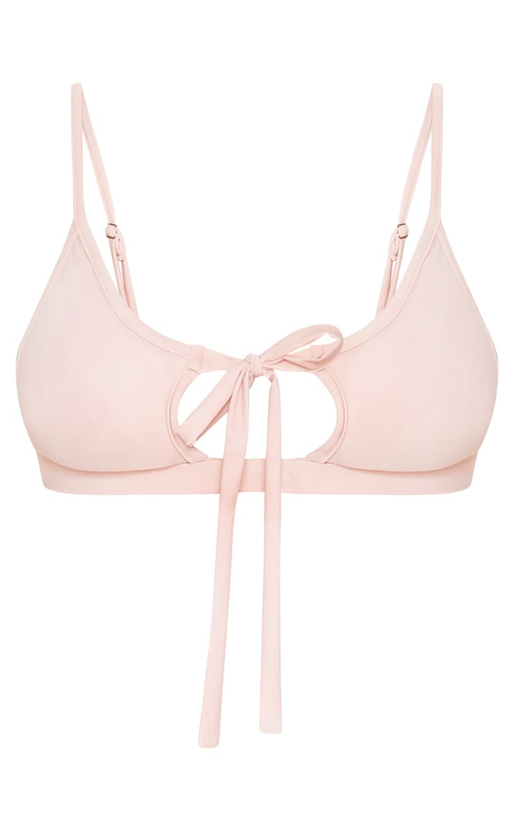 Baby Pink Key Hole Tie Front Bikini Top 3