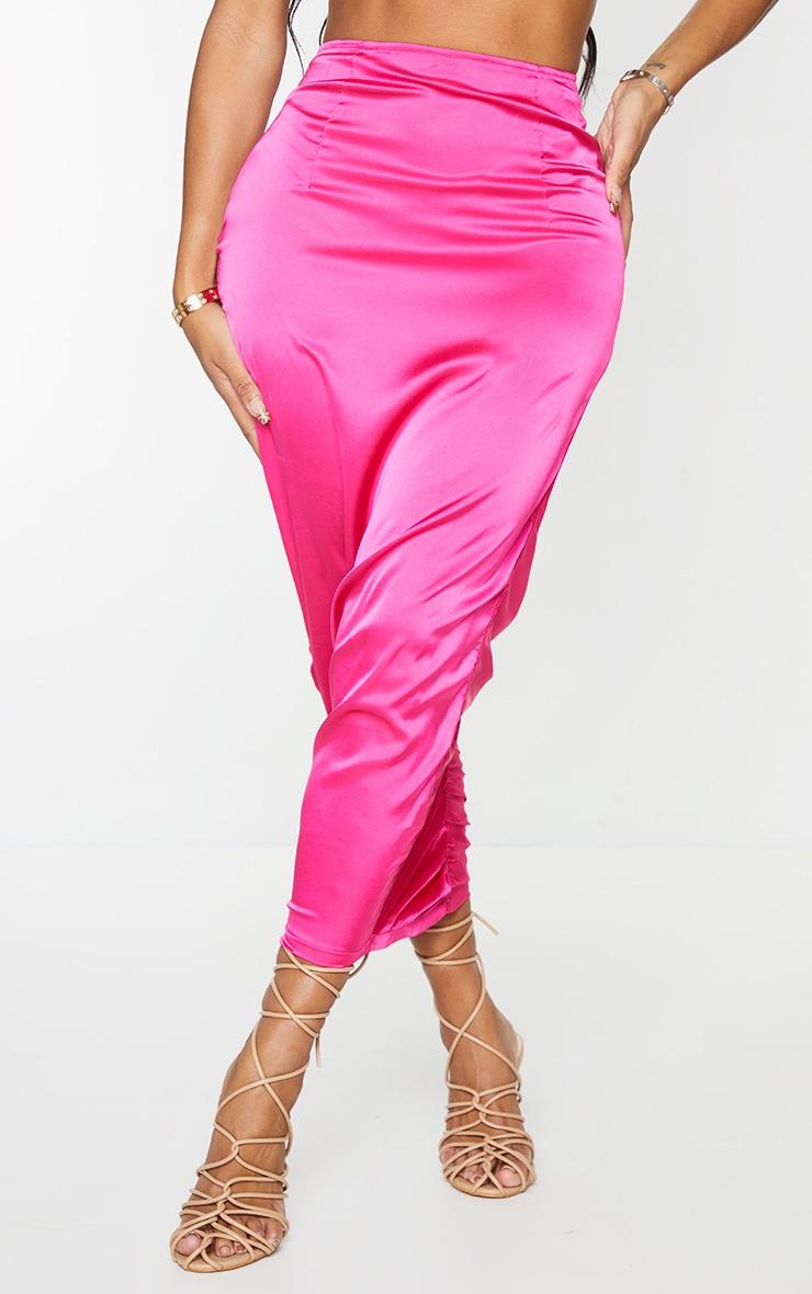 Shape Hot Pink Satin Ruched Thong Trim Detail Midi Skirt 2