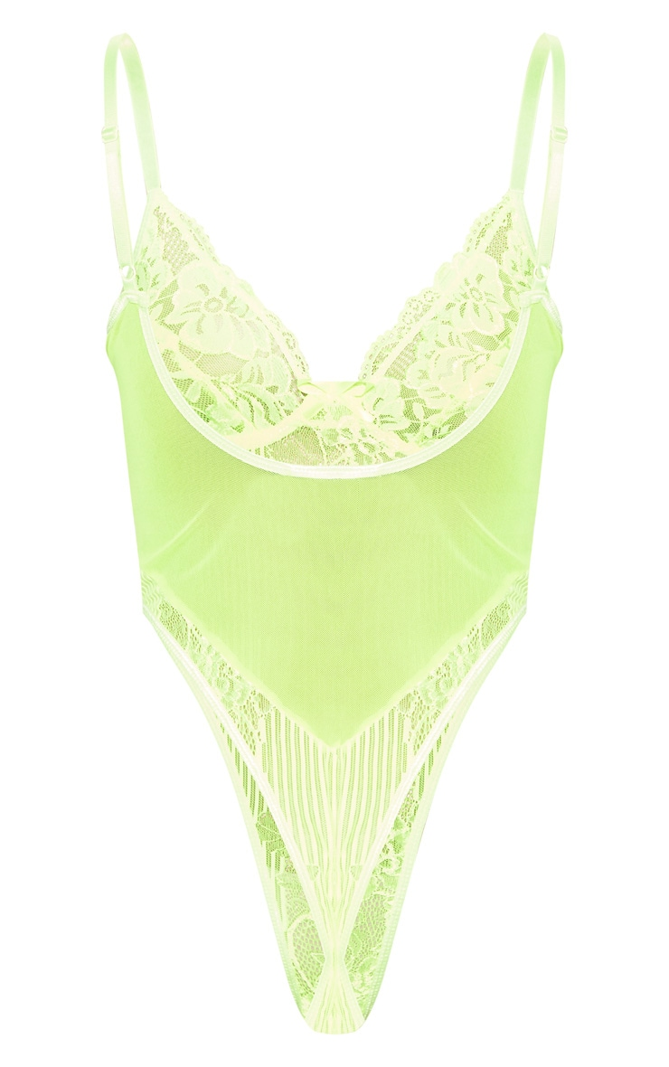 Neon Lime Lace Insert High Leg Cupped Body 4