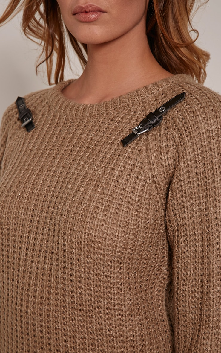 Emily Camel Buckle Detail Knitted Jumper 5