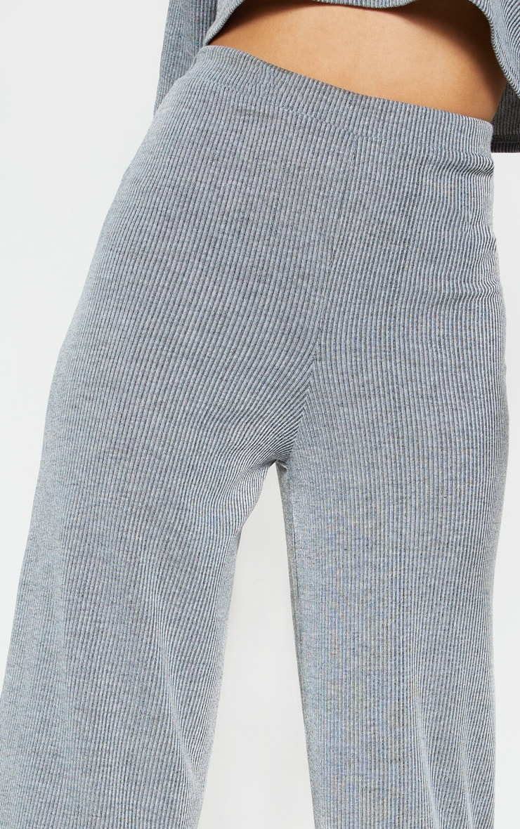 Grey Stripe Wide Leg Lounge Pants 5