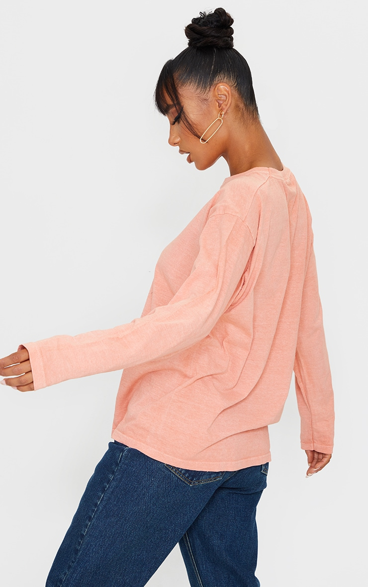 Pastel Orange Washed Long Sleeve T Shirt 2
